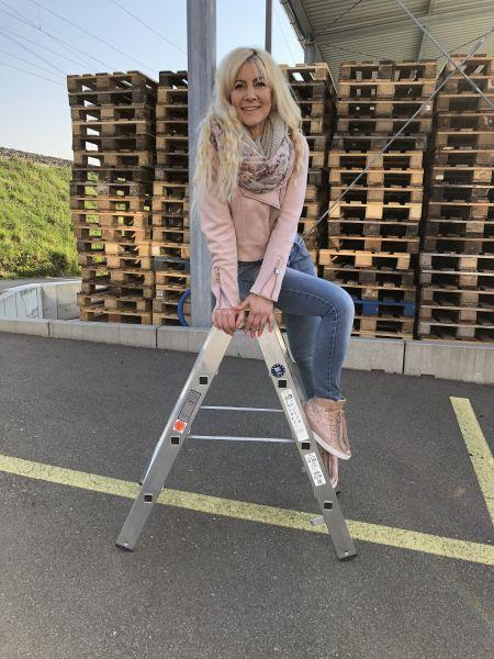 4-Sprossig Aluminium Stufenstehleiter, beidseitig